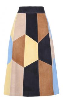 Замшевая юбка-миди с контрастной отделкой Yves Salomon