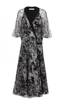 Шелковое платье-миди с цветочным принтом Lanvin