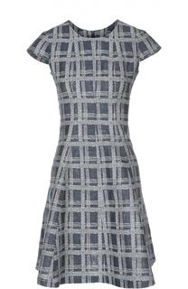 Льняное расклешенное платье в клетку Armani Collezioni