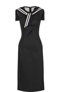 Приталенное платье в горох с декорированным воротником Dolce & Gabbana