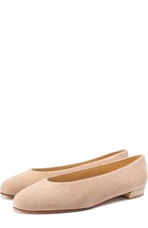 Замшевые балетки на низком каблуке Stuart Weitzman