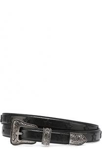 Кожаный ремень Western с фигурной пряжкой и нашивками в виде звезд Saint Laurent