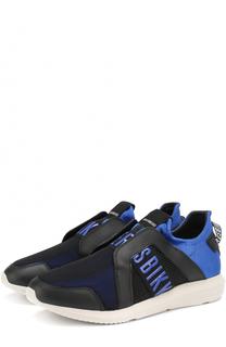Текстильные кроссовки без шнуровки с отделкой из натуральной кожи Dirk Bikkembergs