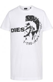 Хлопковая футболка с контрастным принтом Diesel