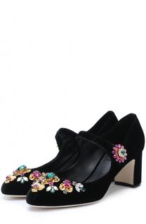 Туфли Vally из текстиля с кристаллами Dolce & Gabbana