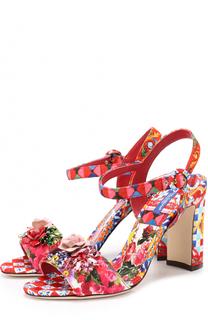 Босоножки Keira из текстиля с принтом и аппликациями Dolce & Gabbana