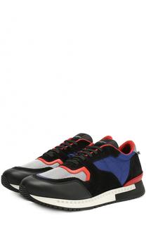 Комбинированные кроссовки на шнуровке с контрастной отделкой Givenchy