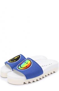 Шлепанцы Rainbow Smile из текстиля с аппликациями Joshua Sanders