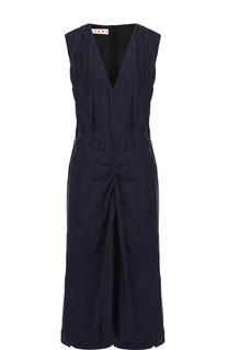 Платье-миди свободного кроя с драпировкой и V-образным вырезом Marni