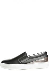 Кожаные слипоны Sportivo с вставкой металлизированной кожи Tod's Tods