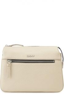 Кожаная сумка с логотипом бренда DKNY