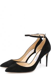 Замшевые туфли Lucy 85 с ремешком на щиколотке Jimmy Choo