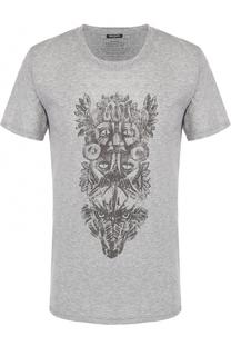 Хлопковая футболка с контрастным принтом Balmain