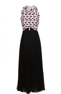 Платье-миди с плиссированной юбкой и цветочным лифом Giambattista Valli