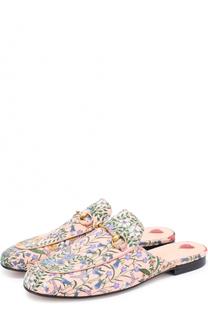 Сабо Princetown из текстиля с цветочным узором Gucci