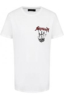 Хлопковая футболка с контрастным принтом Religion