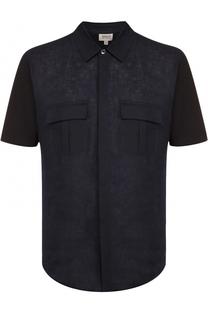 Рубашка с короткими рукавами из смеси хлопка и льна Armani Collezioni