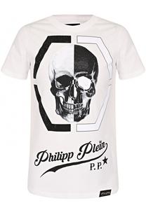 Хлопковая футболка с контрастным принтом и отделкой стразами Philipp Plein