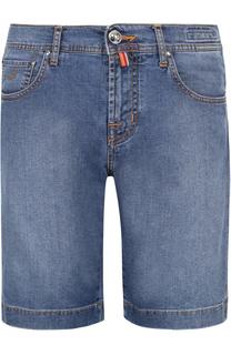 Джинсовые шорты свободного кроя с контрастной прострочкой Jacob Cohen