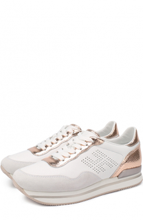 Комбинированные кроссовки с вставками из металлизированной кожи Hogan
