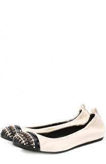 Кожаные балетки с декором Lanvin