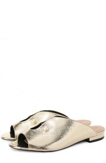 Сабо из металлизированной кожи с декором Coliac