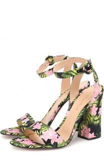 Босоножки из текстиля с принтом на массивном каблуке Gianvito Rossi