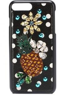 Кожаный чехол для iPhone 7 Plus с принтом и декором Dolce & Gabbana