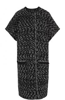 Буклированное пальто с укороченным рукавом и накладными карманами St. John