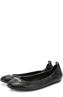 Кожаные балетки с логотипом бренда Lanvin