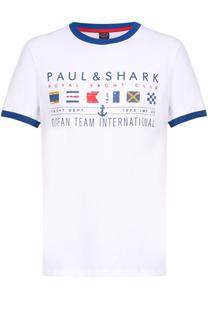 Хлопковая футболка с контрастным принтом и отделкой Paul&Shark Paul&Shark