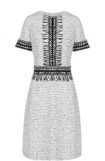 Приталенное платье-миди с бахромой и коротким рукавом St. John