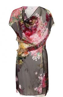 Шелковое мини-платье цветочным принтом Lanvin