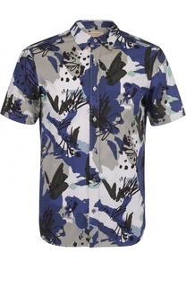 Хлопковая рубашка с короткими рукавами и контрастным принтом Burberry