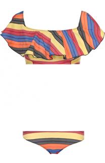 Раздельный купальник в контрастную полоску с бра с оборками Lisa Marie Fernandez