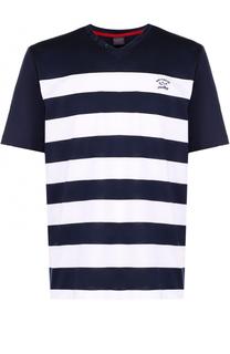 Хлопковая футболка с V-образным вырезом в контрастную полоску Paul&Shark Paul&Shark