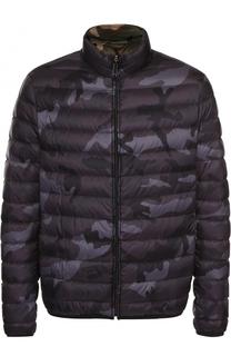 Утепленная стеганая куртка на молнии с камуфляжным принтом Valentino