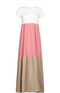 Вязаное приталенное платье-макси с круглым вырезом Tak.Ori