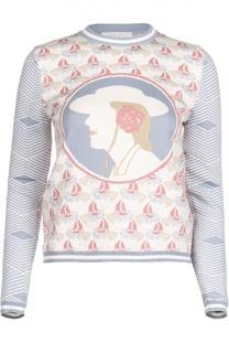 Хлопковый приталенный пуловер с принтом Tak.Ori