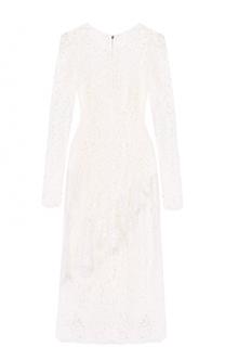 Кружевное платье-миди с оборкой Dolce & Gabbana