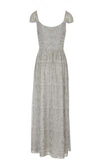 Приталенное платье в пол с вышивкой бисером Armani Collezioni