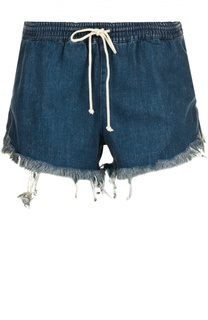 Джинсовые мини-шорты с эластичным поясом и бахромой Chloé