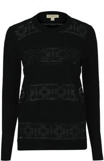 Хлопковый пуловер с кружевной вставкой Burberry