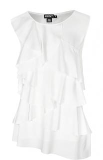 Многослойный шелковый топ асимметричного кроя DKNY