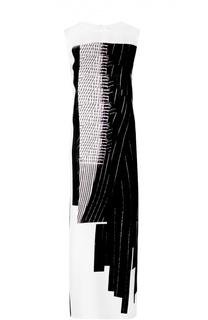 Шелковое платье-макси с разрезами и контрастным принтом DKNY