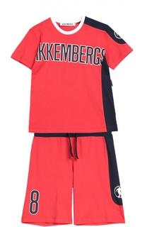 Хлопковый комплект из футболки с шортами Dirk Bikkembergs