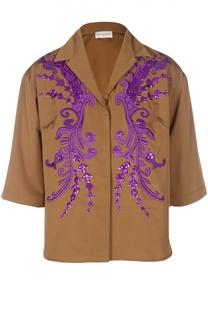 Приталенная блуза с укороченным рукавом, вышивкой и пайетками Dries Van Noten