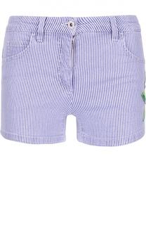 Джинсовые мини-шорты в полоску с вышивкой Blumarine