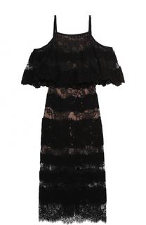 Кружевное платье-миди с открытыми плечами Elie Saab