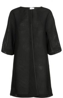 Перфорированное пальто на кнопках с укороченным рукавом Armani Collezioni